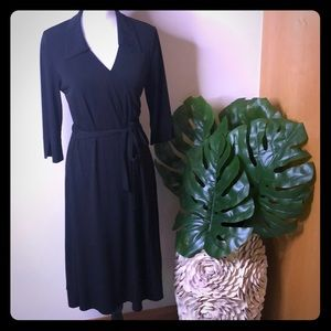 Petite ERIKA long sleeved black dress